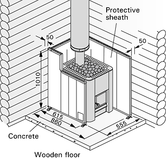 Wood fired heater protective shield