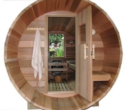 Front view of Ukko Barrel Sauna