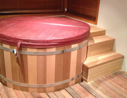 Hot tub custom made stairs