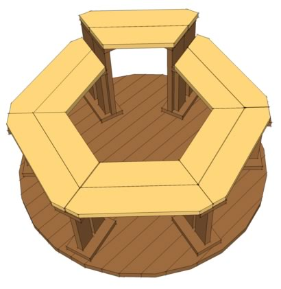 Hexagonal tub benches