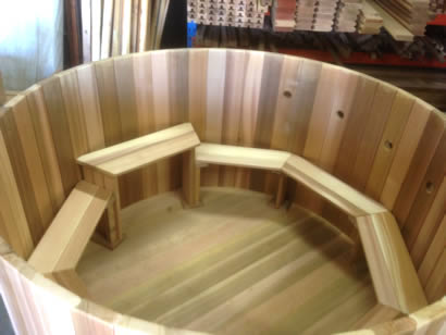 Octagonal benches with step down