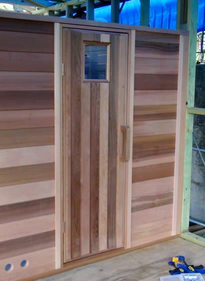 Traditional sauna door
