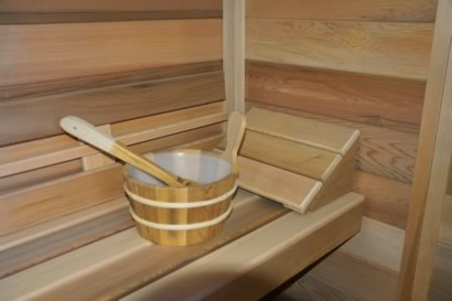 Sauna head rest, bucket and ladle