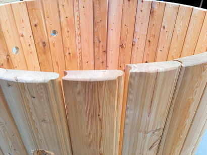 Larch tub staves at the top