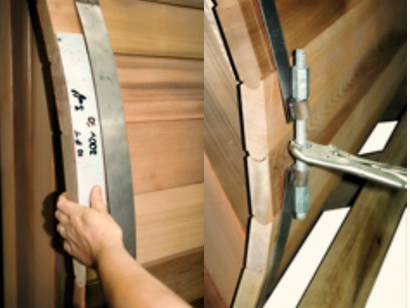 Placing barrel sauna rings