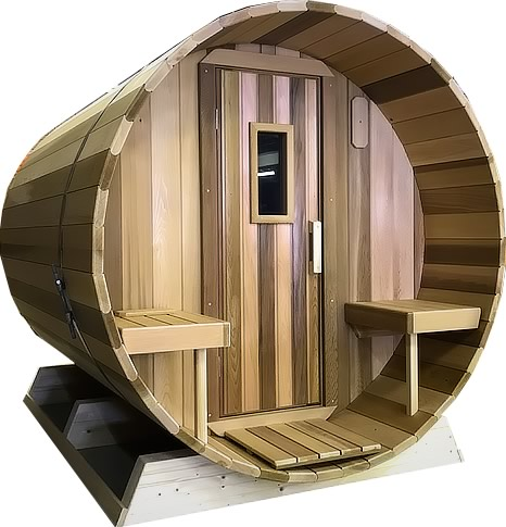 Barrel sauna with overhang