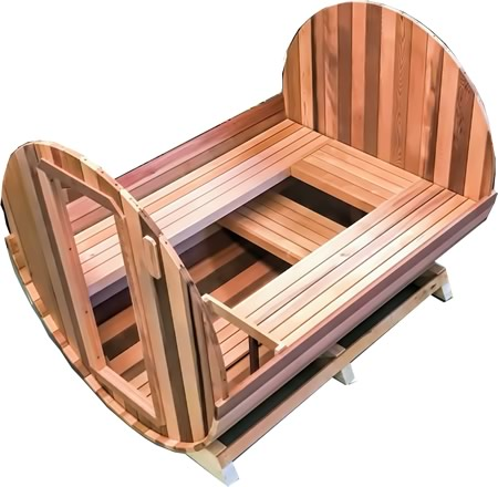 Custom made barrel sauna with 4 benches