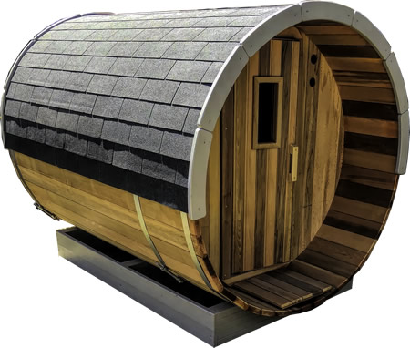 Barrel sauna with bitumen shingles & fascia boards
