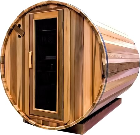 Barrel sauna with glass door