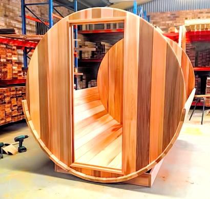 Ukko Barrel sauna assembly