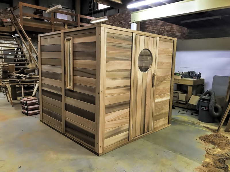 2 x 2m sauna with custom made round window