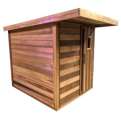 Sauna with overhang