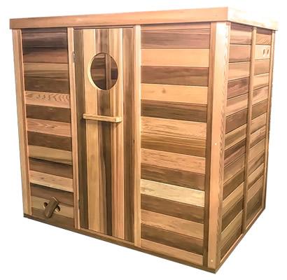Sauna with traditional door & round window